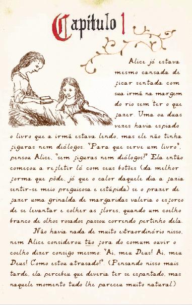 Os manuscritos de Carroll transformados em português pela artista Adriana Peliano (Ed. Scipione)